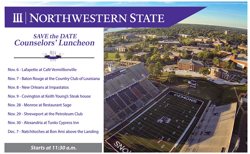 Counselors luncheon registration northwestern state for Northwestern virtual tour