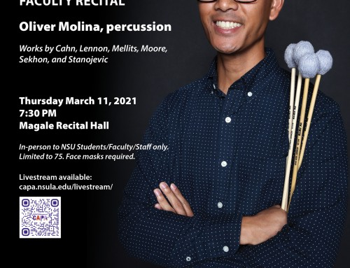 Molina to feature various percussion instruments in March 11 solo recital